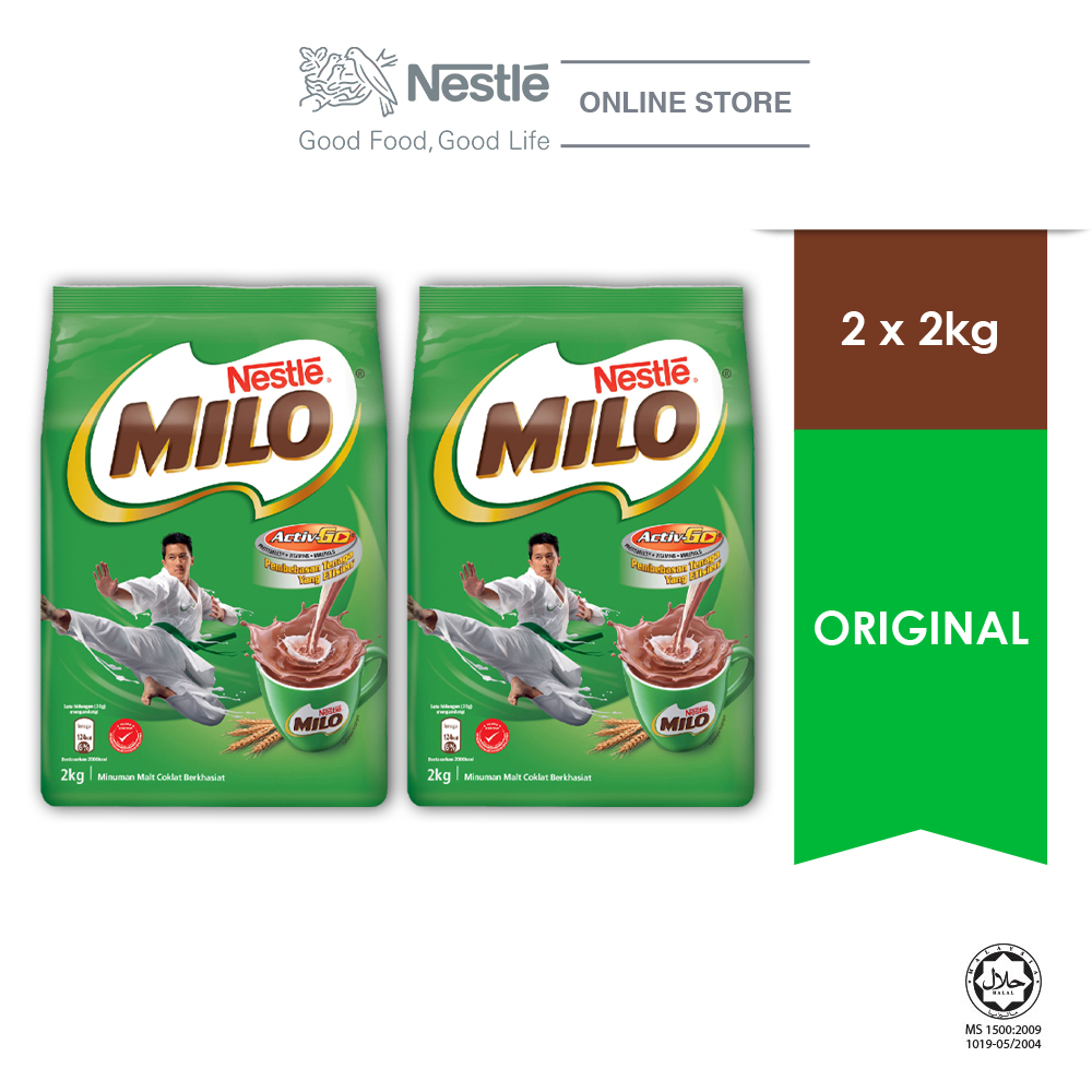 NESTLE MILO ACTIV-GO CHOCOLATE MALT POWDER Soft Pack 2kg x 2 packs