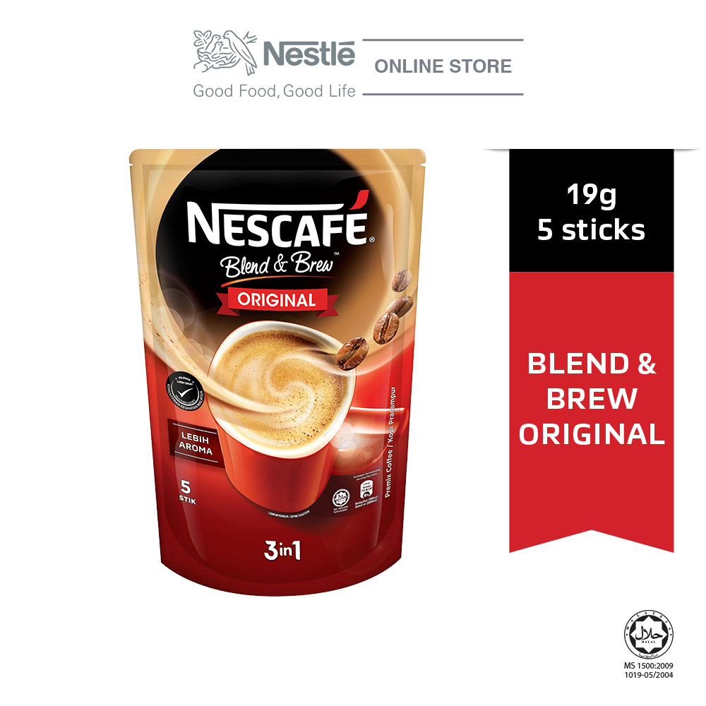 NESCAFE Blend and Brew Original 5 Sticks, 19g Each