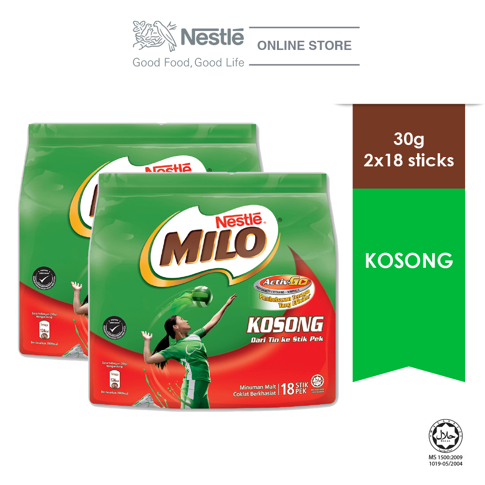 NESTLE MILO KOSONG ACTIV-GO (18 Sticks, 30g x 2 packs)