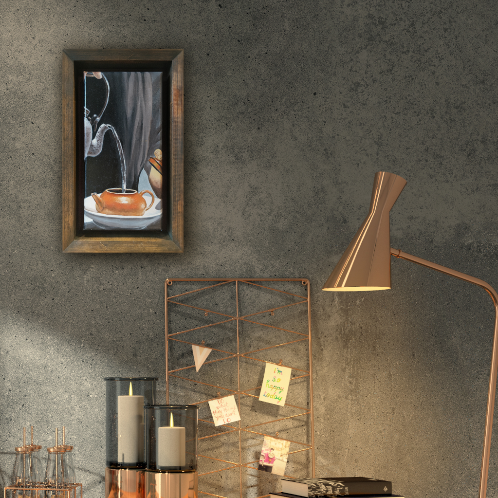 Zisha Pot Oil Painting By Chin Wing Tuck 15.20 cm x 30.50 cm 紫砂壶油画 陈永德/绘