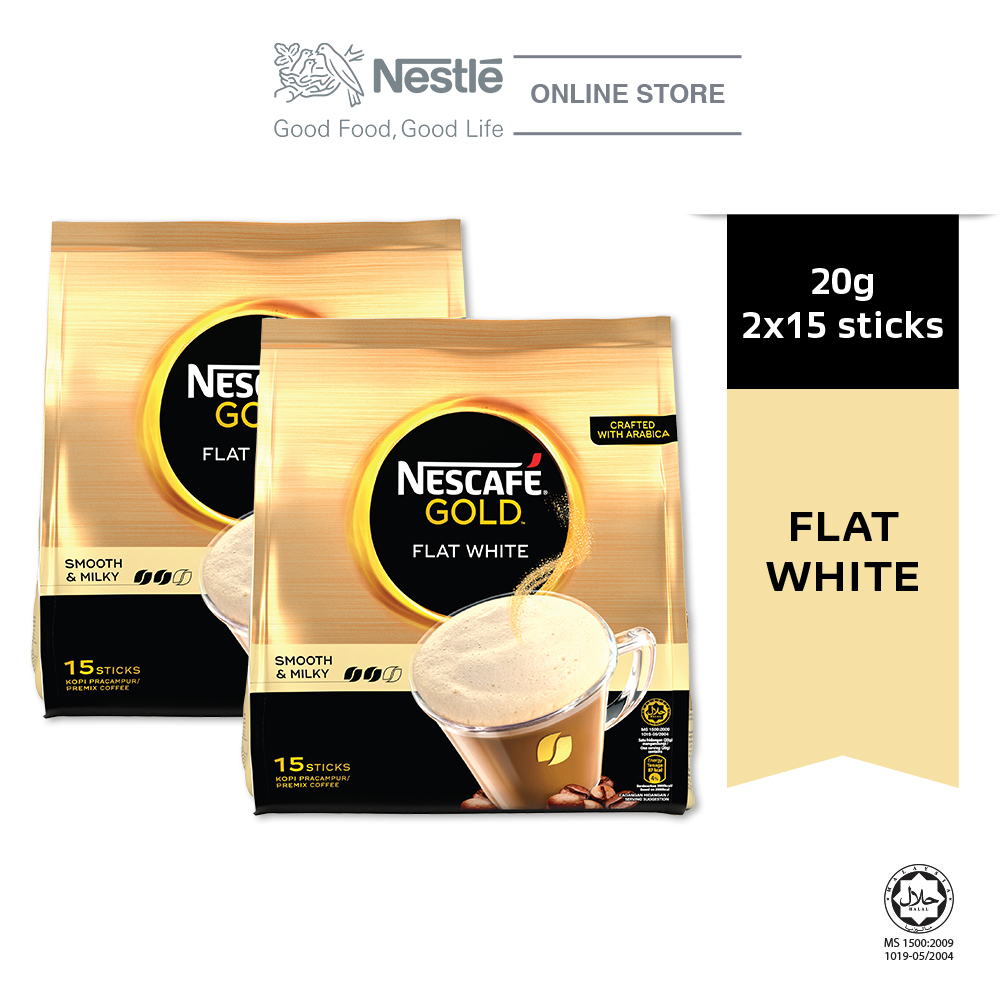 Nescafe Gold Flat White 15 Sticks 20g Bundle of 2
