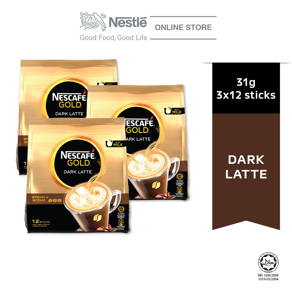 NESCAFE GOLD Dark Latte 12sticks, 31g Bundle of 3