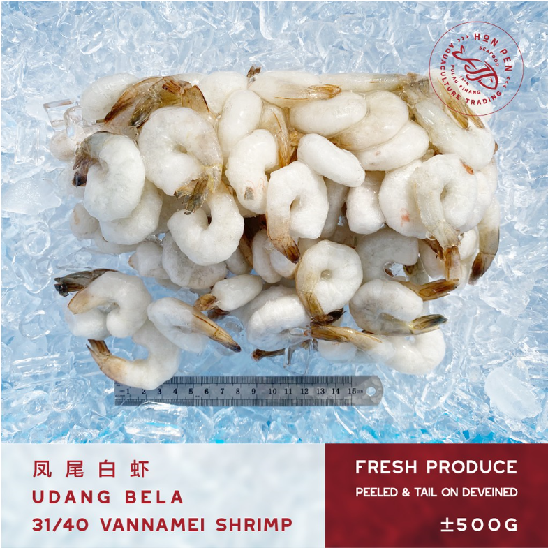 VANNAMEI SHRIMP 31/40 凤尾白虾 UDANG BELA (Peeled, tail on deveined) ±500g