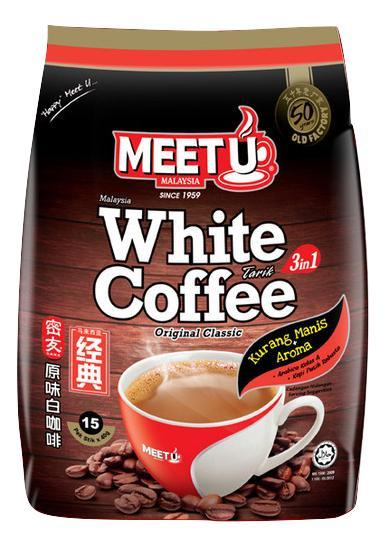 Meet U 3 in 1 Original Classic White Coffee Tarik Less Sweet (15sx 40g)