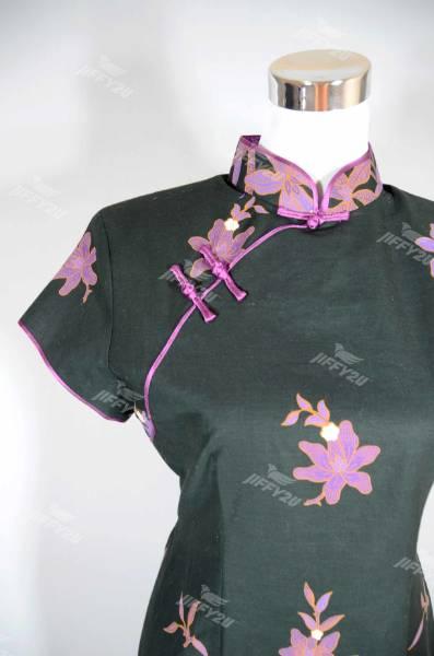 Batik Cotton Mini Dress Cheongsam Black with Purple Floral Print and Classic Mandarin Collar