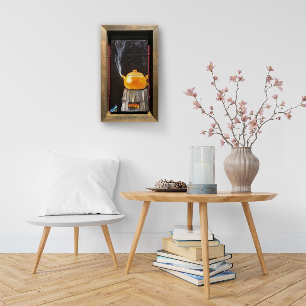 Zisha Pot Oil Painting By Chow Xiao Ying 15.20 cm x 30.50 cm 紫砂壶油画 周晓莹/绘