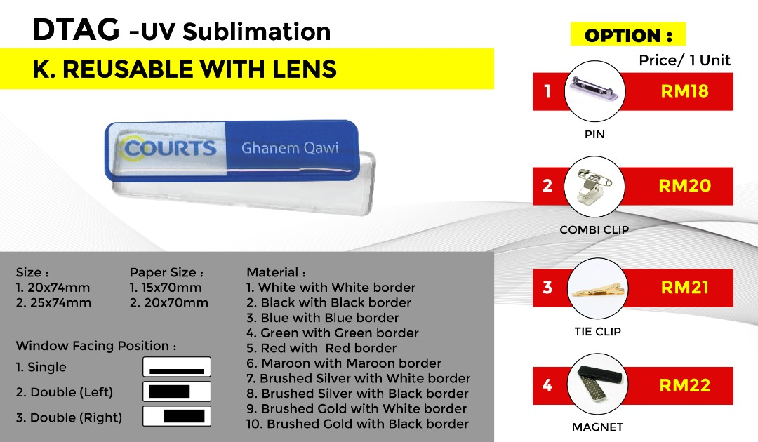 DTAG - UV Sublimation K.RESUABLE WITH LENS