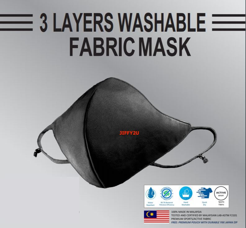 ADULT 3-Ply 3D Premium Washable Sports Fabric Mask with 99.7% Germs filter (100% Made, Tested & Verified in Malaysia)