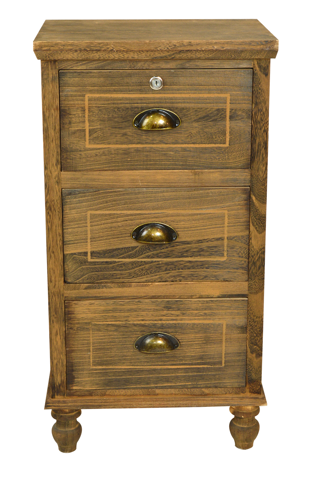 3 Drawer With Lock 16013 Brown