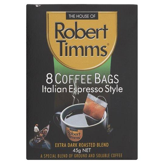 The House of Robert Timms Italian Espresso Style Extra Dark Roasted Blend Coffee 8 Bags 45g