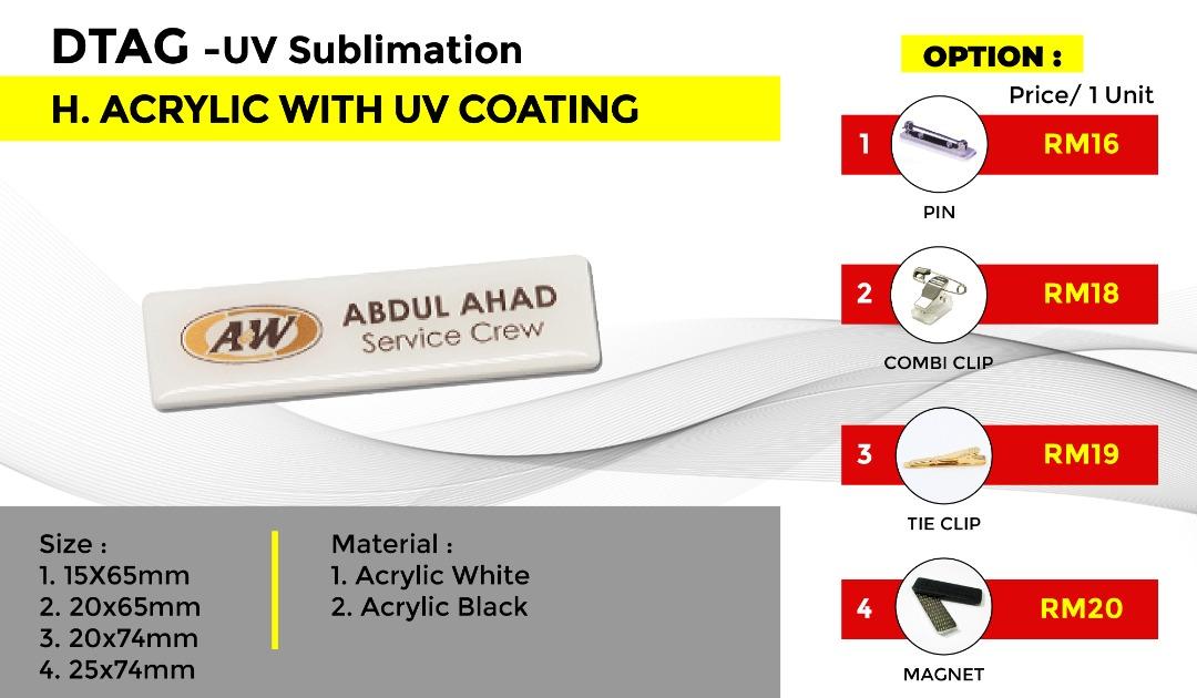 DTAG - UV Sublimation H.ACRYLC WITH UV COATING