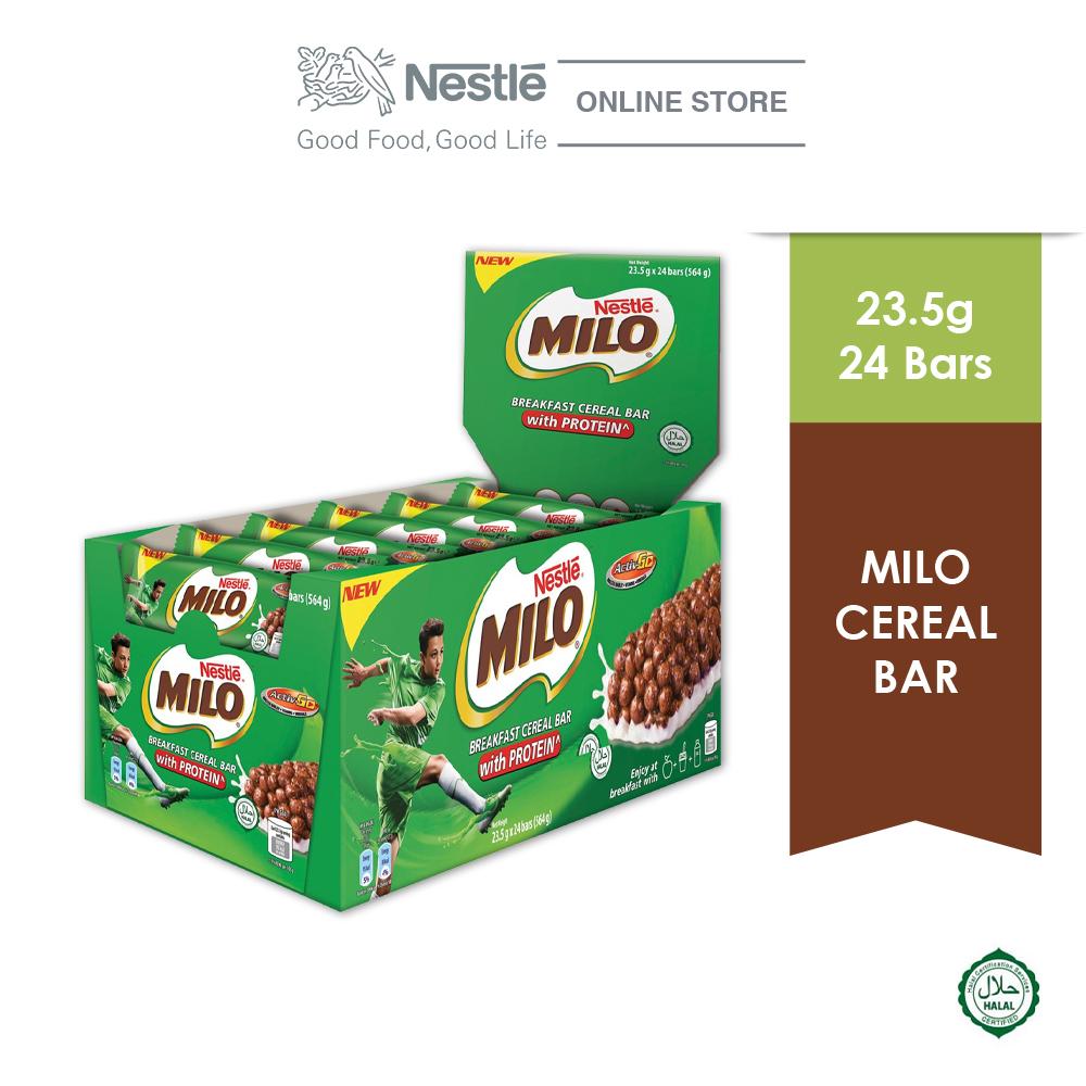 NESTLE Milo Breakfast Cereal Bar, 24 Bars, 23.5g Each