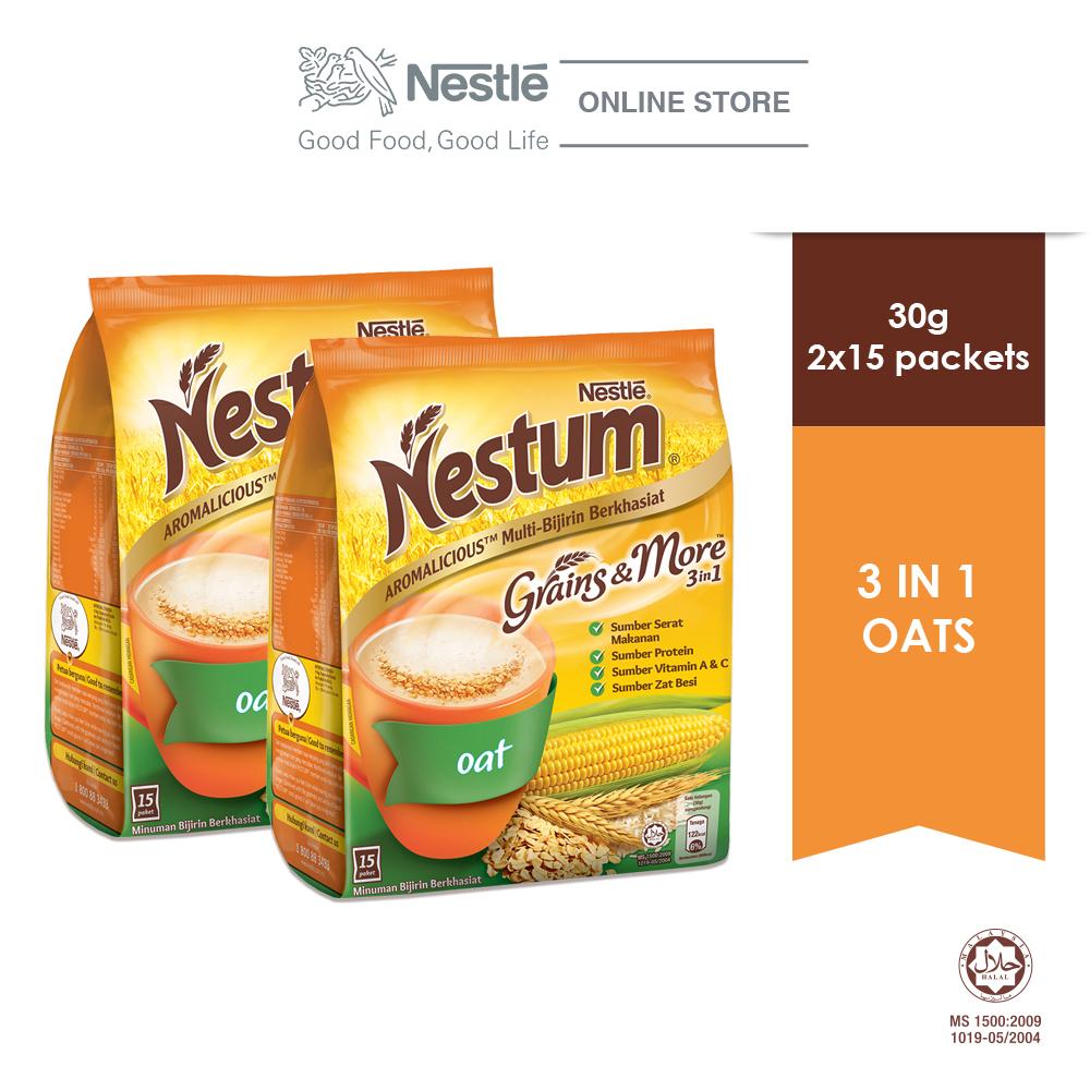 NESTLE NESTUM Grains & More 3in1 Oats (15 Packets 30g x 2 packs)