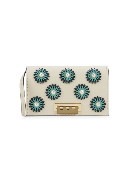 Zac Zac Posen Faux-Pearl & Floral Embellished Leather Crossbody Bag