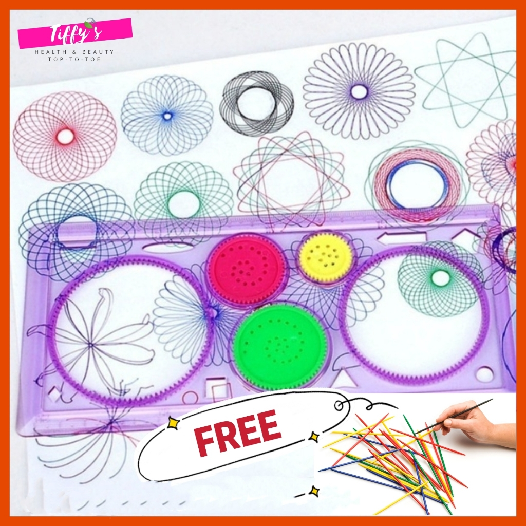 [FREE Pick Up Stick] Spirograph Geometric Ruler Drafting Tools Stationery For Students Drawing Set