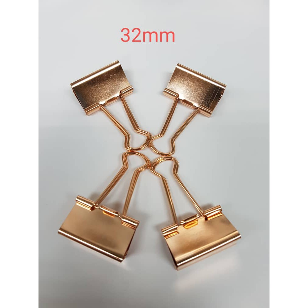 Metal binder clips ROSE GOLD TAIL CLIP 32MM - (4PCS/PACK)