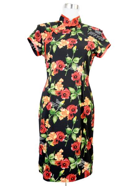 Black with Scarlet Red and Bright Orange Floral Fabric Designer Cheongsam
