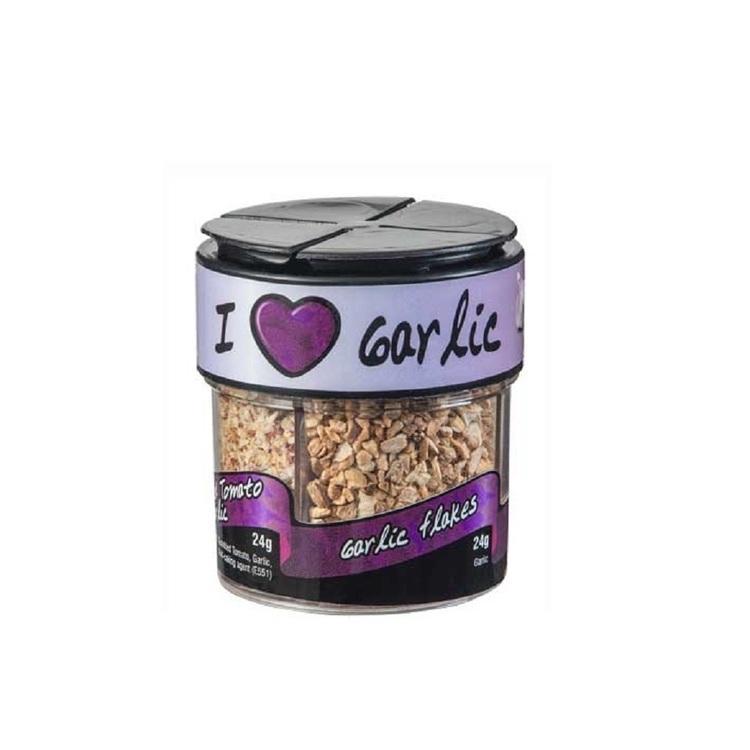 Cape Foods I Love Garlic (4 In1 bottle) Spice Shakers - Garlic Flakes, Spicy Garlic, Sweet Pepper & garlic, Sundried tomato & garlic 85g
