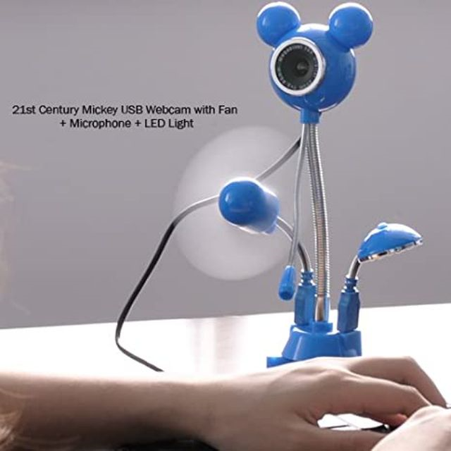 4 in 1 Mickey Mouse USB Webcam PC Microphone Desk Fan and LED Lights Student