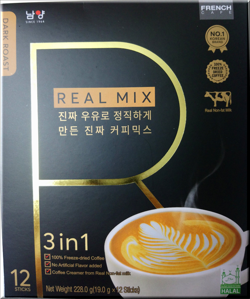 Korean French Cafe Premium Excellent Award Freeze-Dried Dark Roast 3 in 1 Coffee