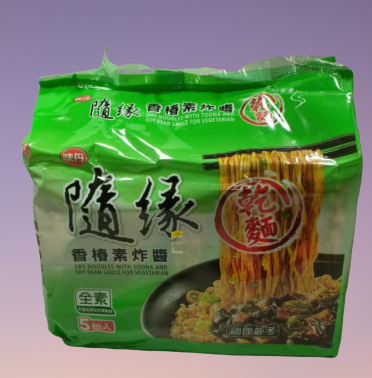 Taiwan Dry Noodles with Toona and Soy Bean Sauce Vegetarian 台湾随缘香椿素炸酱面 (5 packs x 85g)