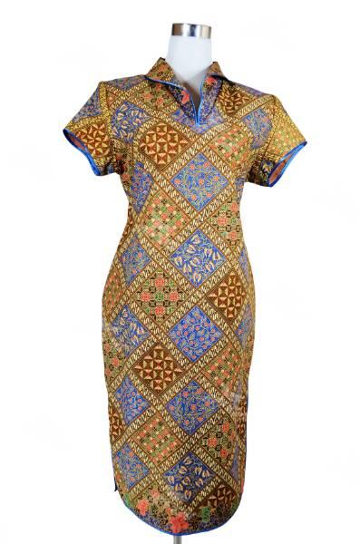 Modern Style Batik Mini CheongsamBrown and Bluewith Ethnic Printin Princess Collar Design