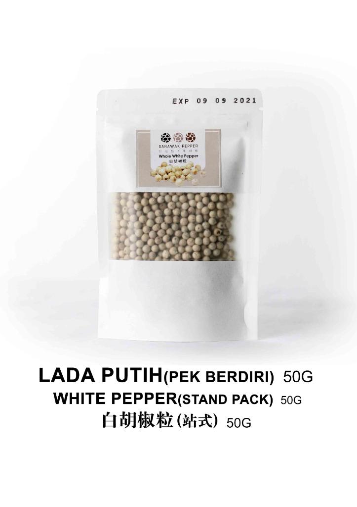 Sarawak White Pepper (50g Craft paper zip lock stand pack)