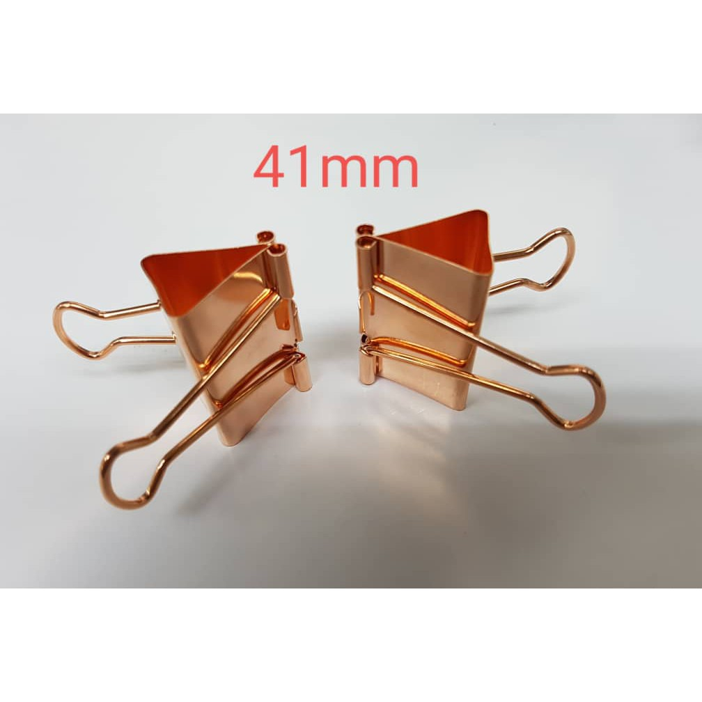 Metal binder clips ROSE GOLD TAIL CLIP 41MM - (2PCS/PACK)