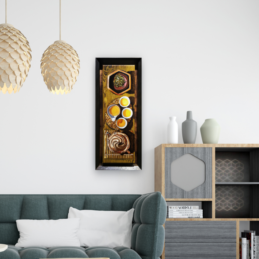 Zisha Pot Oil Painting By Chin Wing Tuck 20.30 cm x 61 cm 紫砂壶油画 陈永德/绘