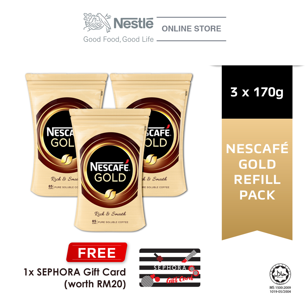 Nescafe Gold Coffee Refill Pack 170g, Buy 3 Free 1 Sephora Gift Card (Worth RM20)