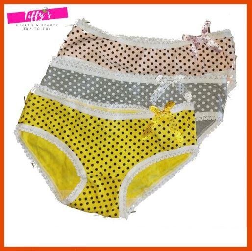 Ladies Polka Dots Underwear Women Panties Lingerie Grey Yellow Pink