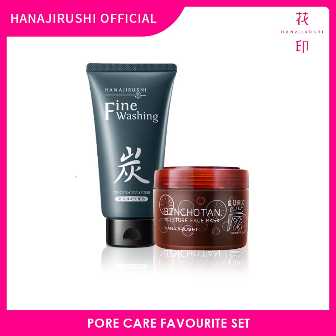Hanajirushi Pore Care Favourite Set - Fine Washing Cream 120g Face Cleanser + Binchotan Misture Face Mask 220g