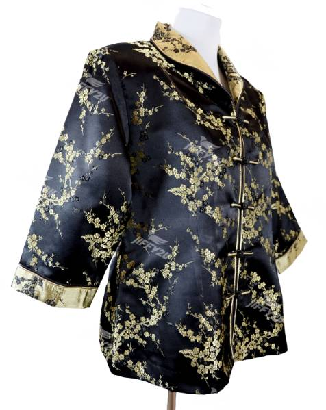Jet Black Cheongsam Blouse with Golden Floral Embroidery in Princess Collar