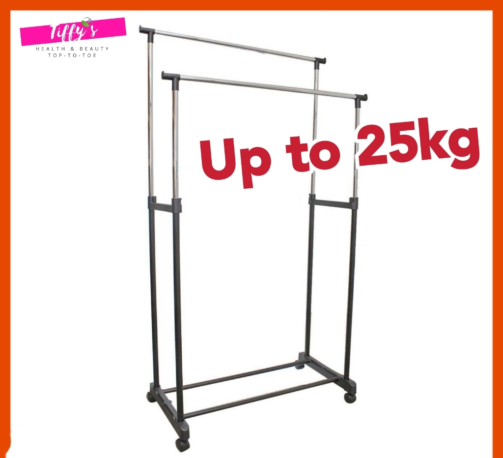 Double Pole Adjustable Clothes Rack Hanger Stainless Steel