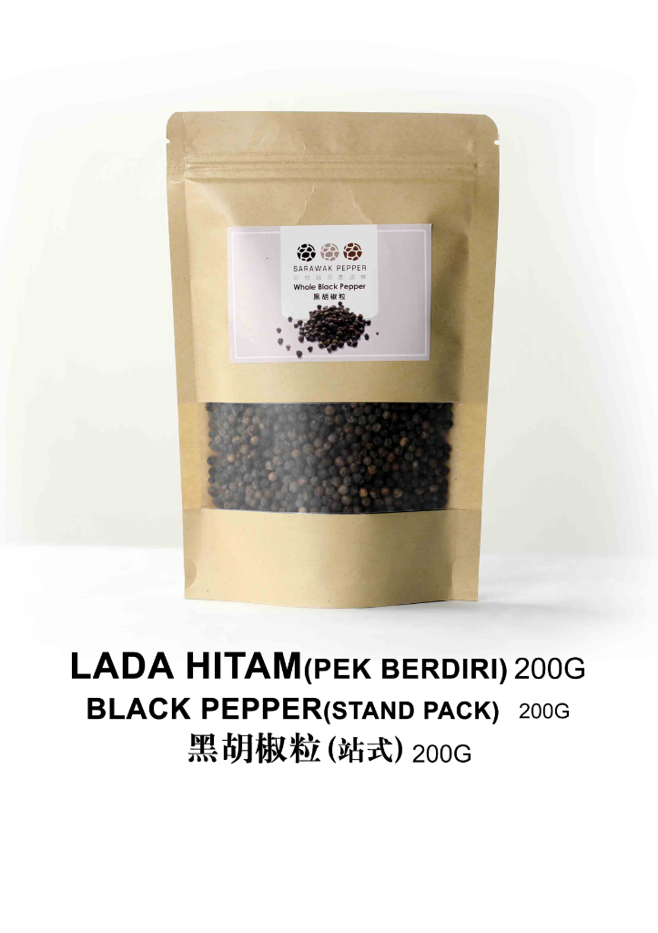 Sarawak Black Pepper (200g zip lock stand pack)