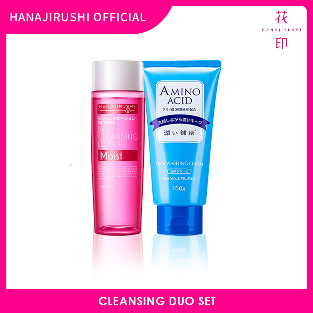 Hanajirushi Cleansing Duo Set - Deep Cleansing Lotion (Moist) Makeup Remover 180ml + Amino Acid Face Cleanser Washing Cream 150g