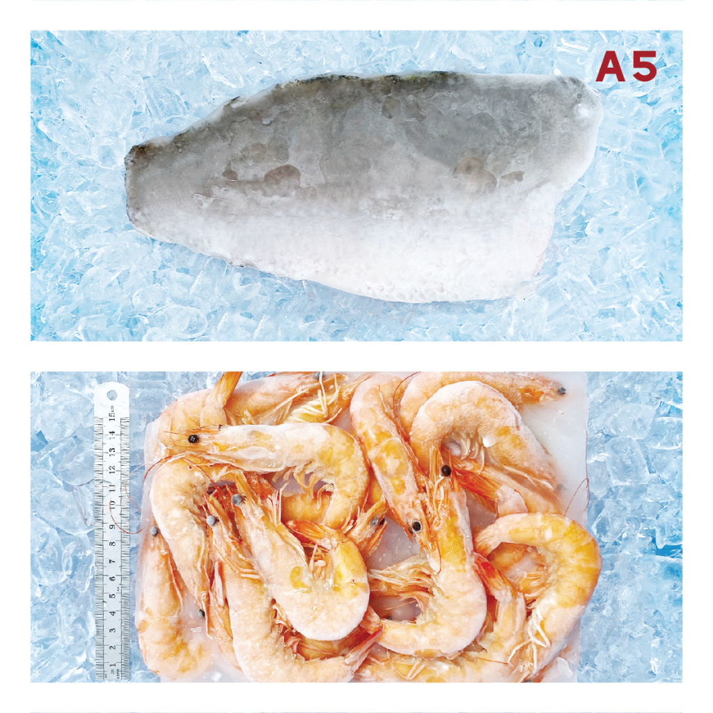 A5 31/35 COOKED VANNAMEI SHRIMP 熟白虾 ±700g, 2PCS SMALL SEABASS FILLET 小金目鲈鱼片 ±450g