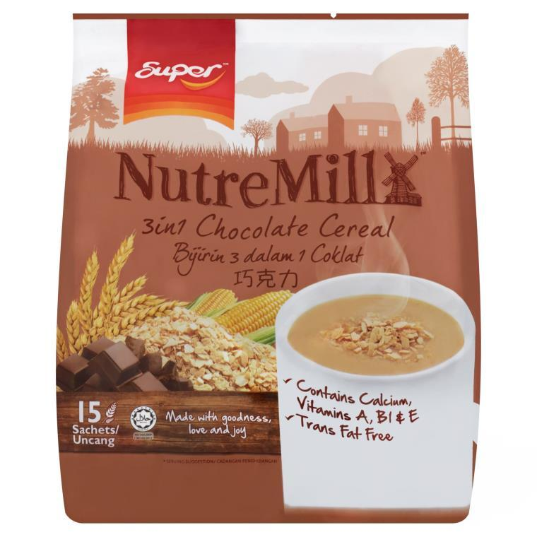SUPER NUTREMILL 3-in-1 Instant Cereal Bijirin Drink Chocolate (15 sachets x 30g)
