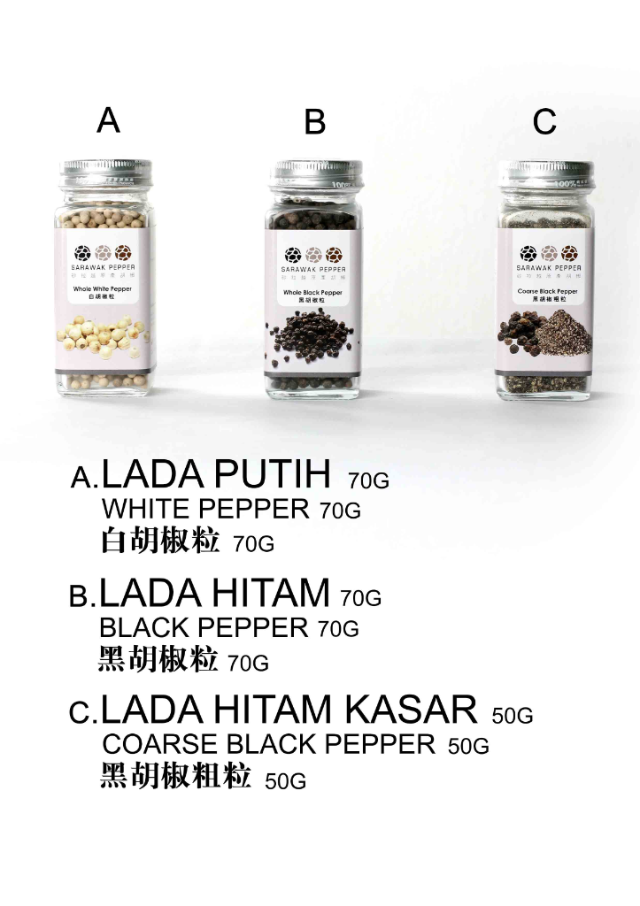 Sarawak Pepper Package Set (70g White Pepper + 70g Black Pepper + 50g Course Black Pepper (set))