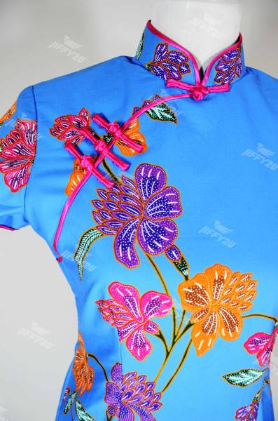 Batik Mini Dress Cheongsam Blue with Floral Prints and Fuschia Pink Piping in Classic Design