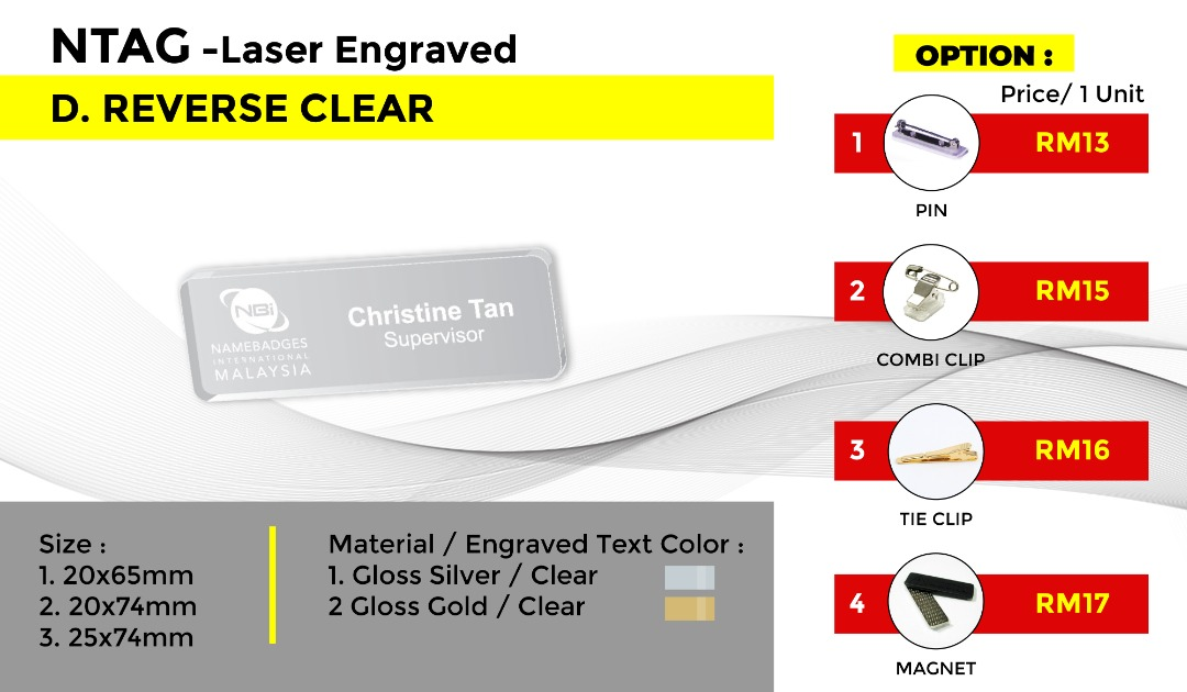NTAG - Laser Engraved D.REVERSE CLEAR