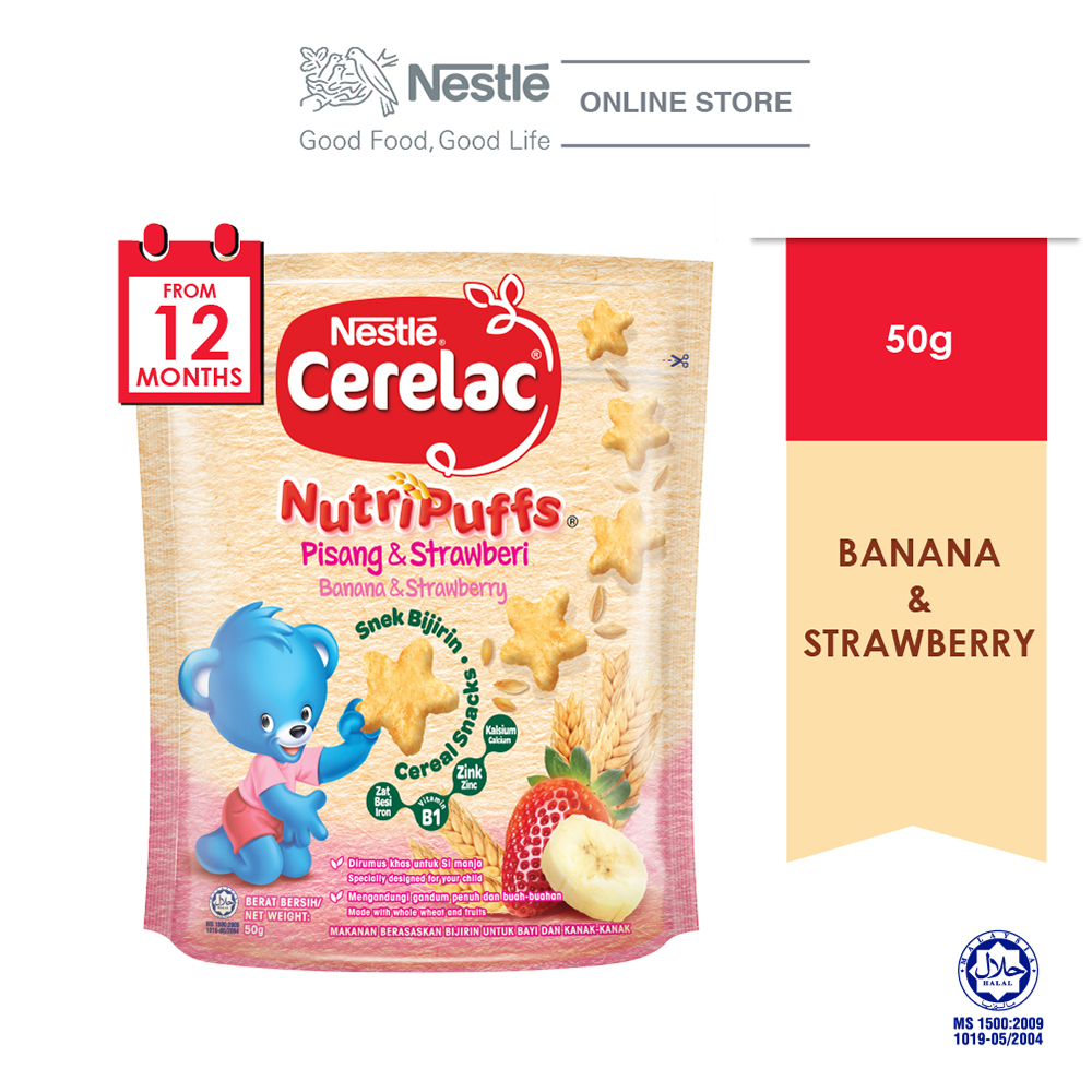 NESTLE CERELAC NUTRIPUFF Banana & Strawberry Cereal Snack Pouch 50g