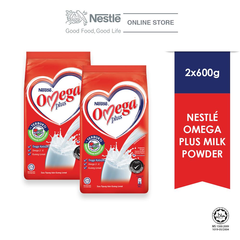 NESTLE OMEGA PLUS Milk Powder Softpack 600g x 2 Packs