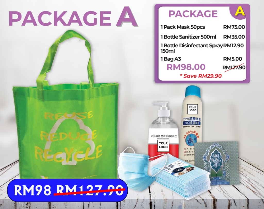 PROMOTION PACKAGE A (Mask, Sanitizer, Disinfection Spray, A3 Recycle Bag)