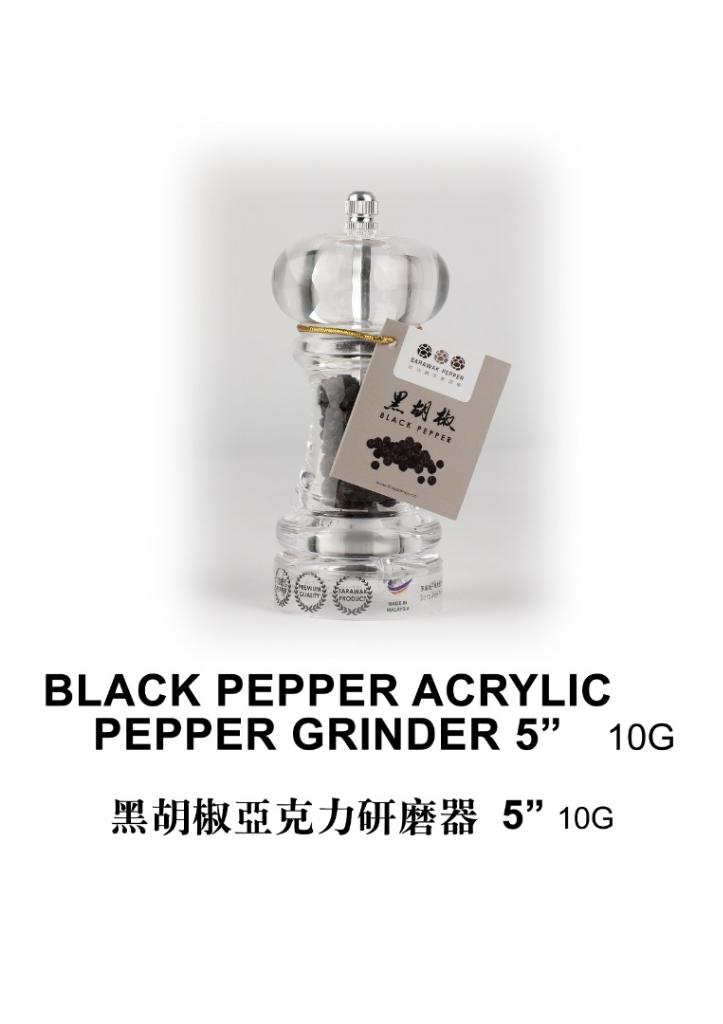 Sarawak Black Pepper (10g) Acrylic Pepper Grinder 13