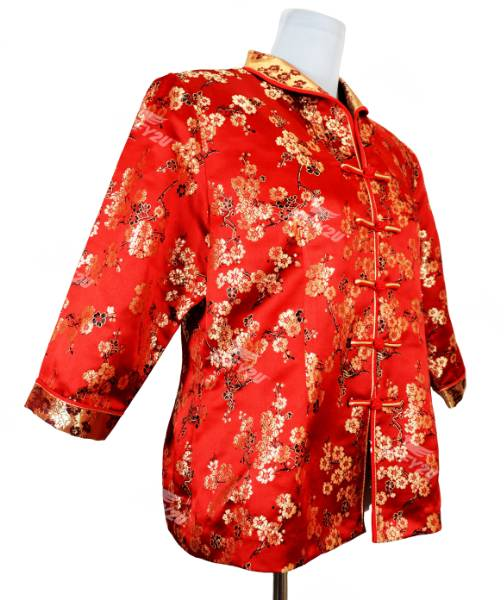Royal Red Cheongsam Blouse with Golden Floral Embroidery in Princess Collar