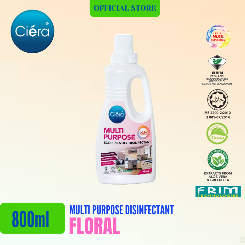 Ciéra Eco Friendly Multi-Purpose Disinfectant - 800ml (Concentrated 1:100)
