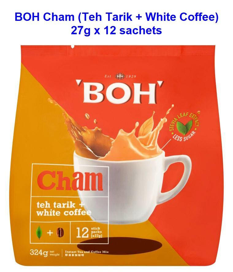 BOH Cham Instant Tea Mix Teh Tarik + White Coffee Less Sugar (12 sachets x 27g)