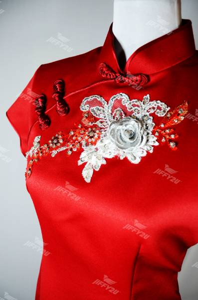 Scarlet Red Designer Cheongsam with Floral Patchwork and Beads