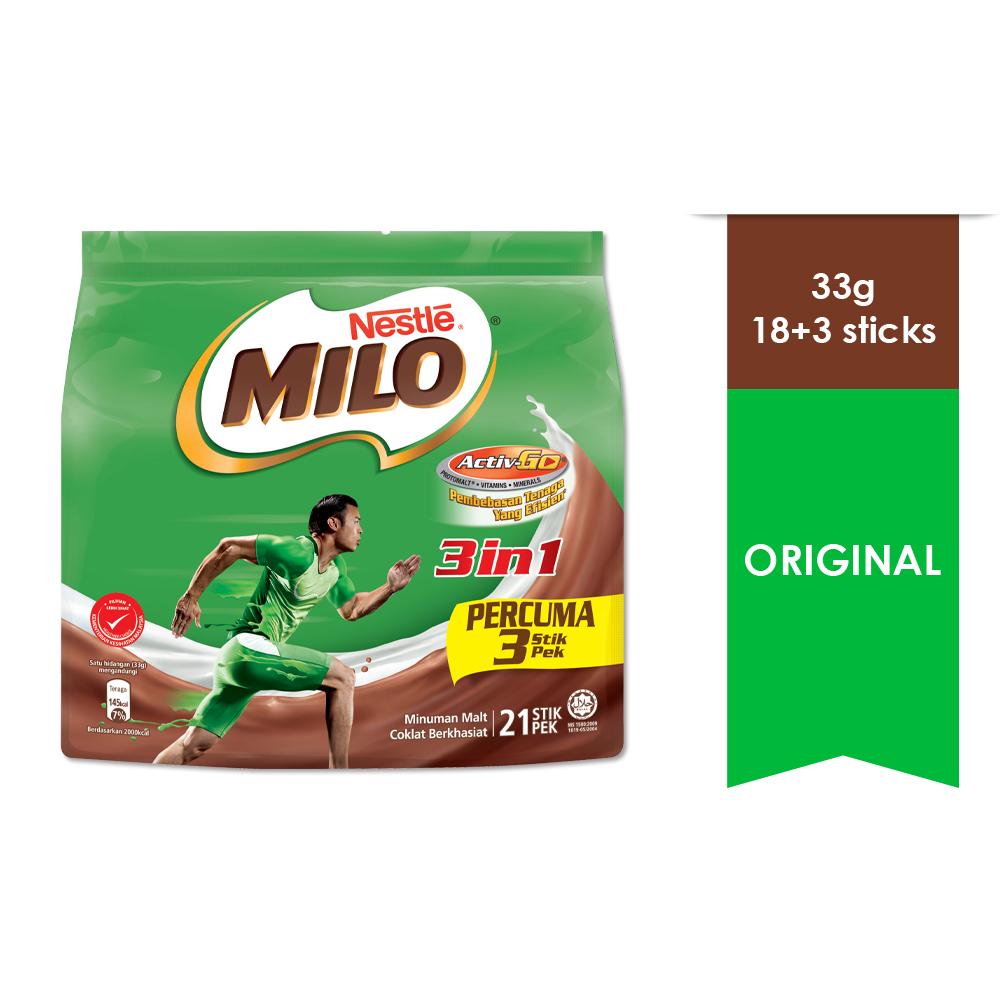 NESTLE MILO 3IN1 ACTIV-GO 18 + 3 Sticks 33g